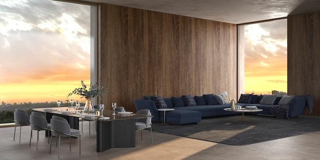 Sala de estar e de jantar aberta de luxo 3d rendem ilustração design de interiores com cores brilhantes