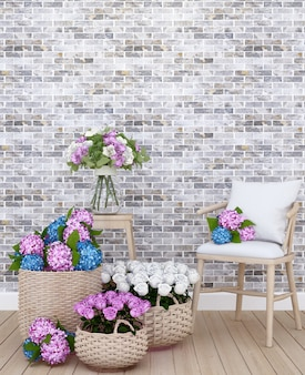Sala de estar e flor em apartamento ou em casa.