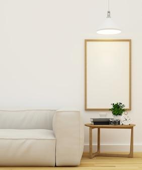 Sala de estar e moldura para obra de arte design limpo renderização em 3d