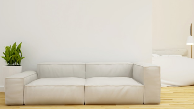 Sala de estar e quarto - renderização em 3d