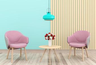 Sala de estar e rosa cadeira interior dos namorados quarto