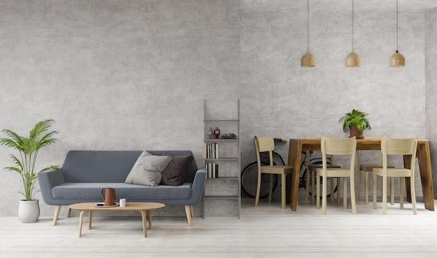 Sala de estar e sala de jantar em estilo loft com concreto bruto, piso de madeira, sofá, mesa de jantar, luminárias
