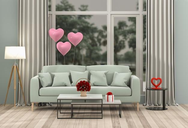 Sala de estar e sofá interior