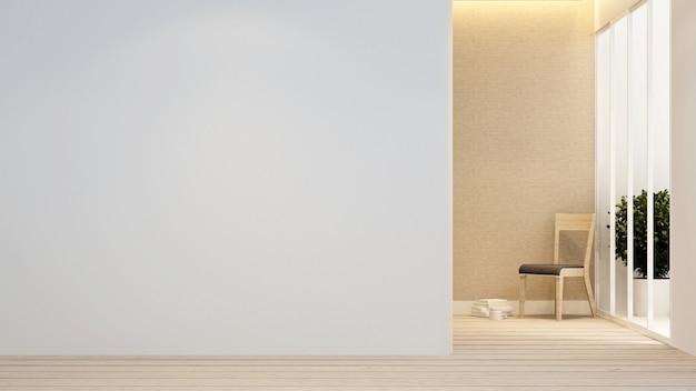 Sala de estar e varanda no apartamento ou no hotel - design de interiores - renderização 3d