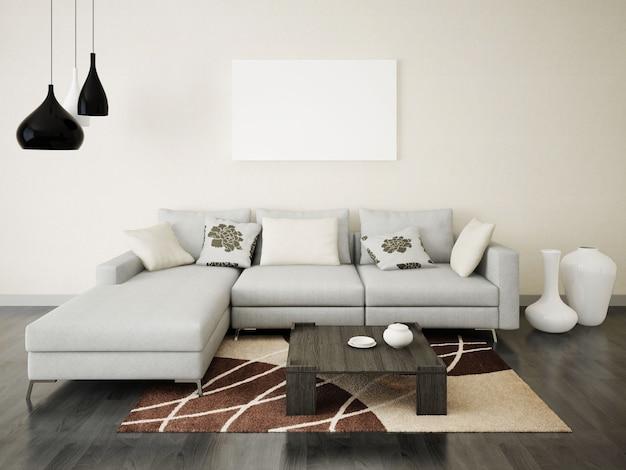 Sala de estar elegante com um sofá confortável