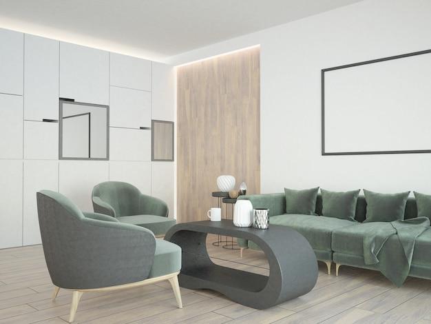 Sala de estar elegante e moderna com poltronas e sofá