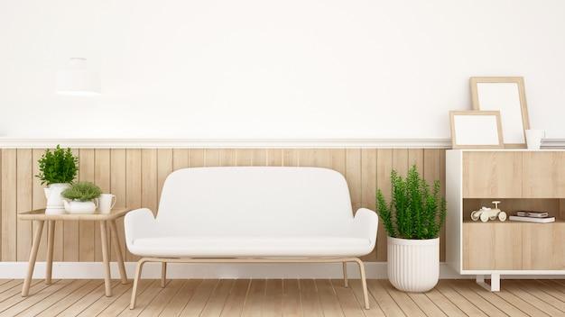 Sala de estar em apartamento ou casa - design de interiores - renderização 3d
