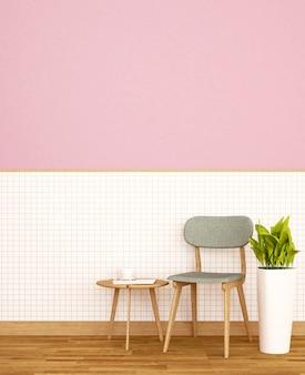 Sala de estar em casa ou apartamento na parede de cerâmica branca e parede rosa decorar