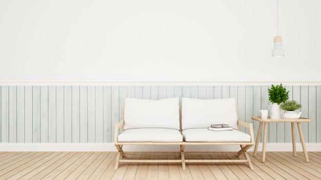 Sala de estar em casa ou café - renderização em 3d