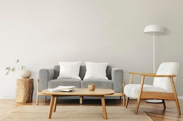 Sala de estar em design de interiores escandinavo