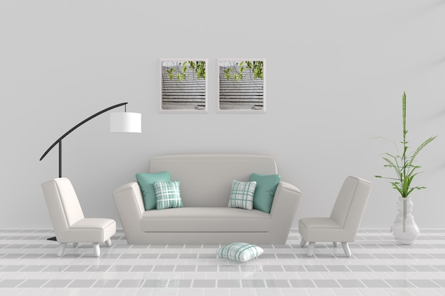 Sala de estar em dia de relax. decoração com sofá, poltrona, travesseiro verde, abajur branco. renderização 3d.