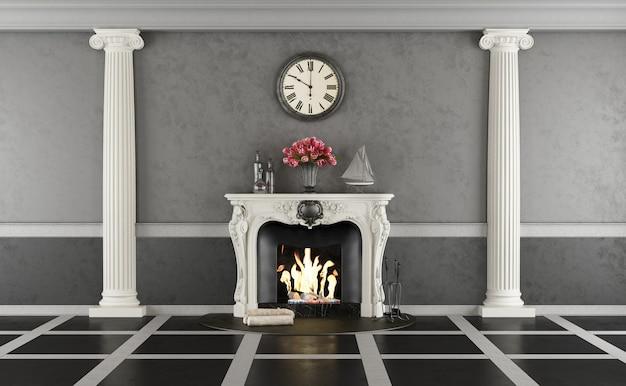 Sala de estar em estilo clássico com lareira