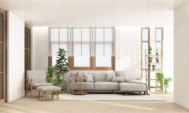 Sala de estar em estilo contemporâneo moderno com moldura de janela de madeira e transparente com tons de móveis cinza, renderização em 3d