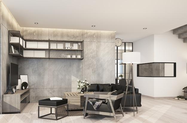 Sala de estar em estilo loft moderno em casa com concreto e textura de madeira com conjunto de sofás