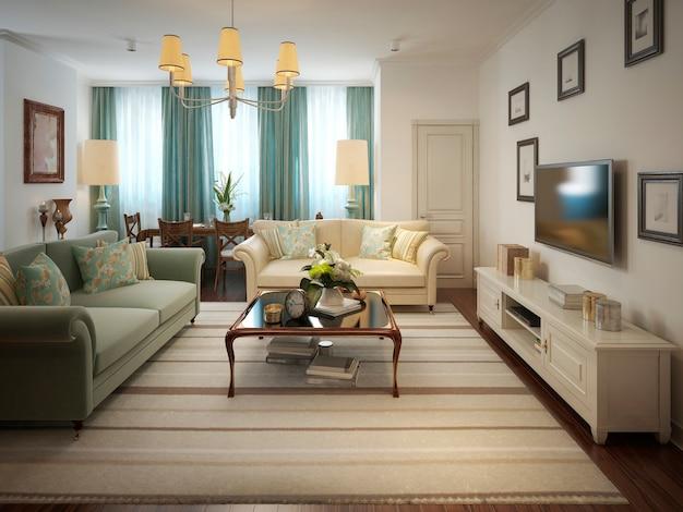 Sala de estar em estilo provençal