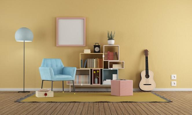 sala de estar em estilo vintage com parede amarela