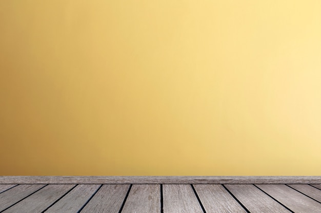 Sala de estar, em, tons amarelos, parede, interior, assoalho madeira parquet, com, espaço cópia