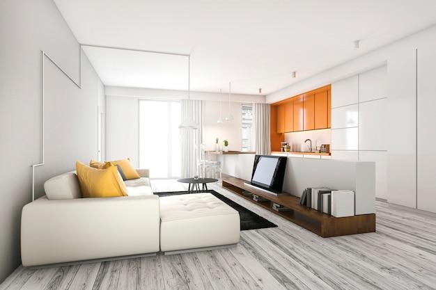 Sala de estar escandinava de renderização 3d com sofá e tv perto de bar de cozinha laranja
