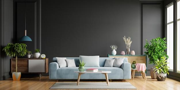 Sala de estar escura, sofá azul em piso de madeira e parede preta, renderização em 3d