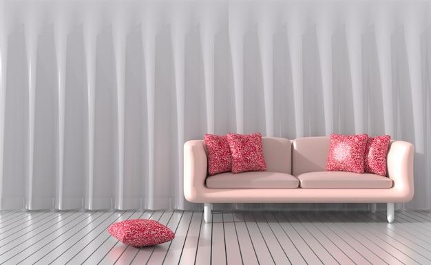 Sala de estar está mobilada com sofá rosa, cortinas esta sala para o dia dos namorados de amor. 3d
