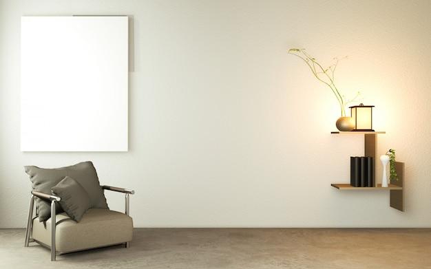 Sala de estar estilo japonês com mesa de madeira, lâmpadas e poltrona no chão de concreto