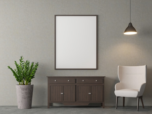Sala de estar estilo loft decoração 3d com moldura em branco e poltrona branca