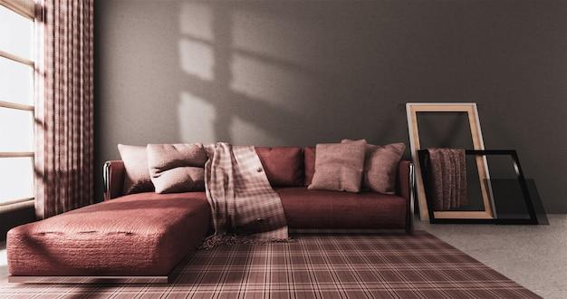 Sala de estar estilo moderno com parede cinza e poltrona sofá vermelho no tapete