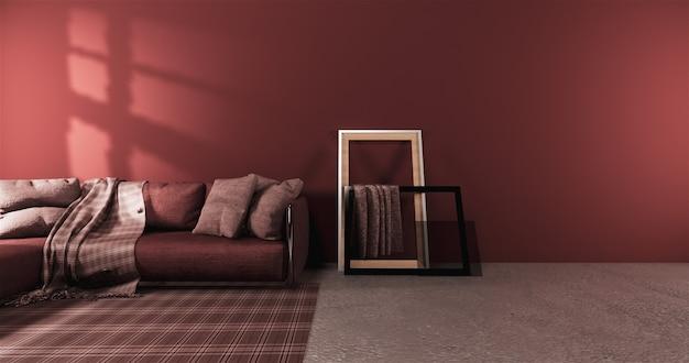 Sala de estar estilo moderno com parede vermelha e poltrona sofá vermelho no tapete