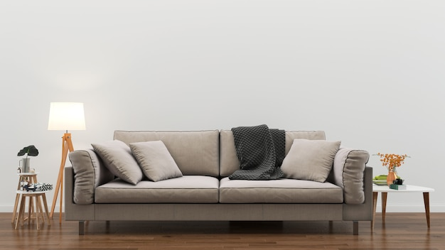 Sala de estar interior 3d render fundo madeira piso madeira parede modelo design
