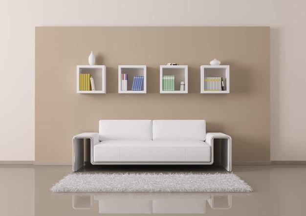 Sala de estar interior com mobiliário e sofá