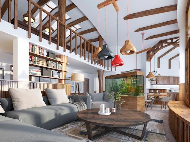 Sala de estar interior estilo loft em casarão com aquário e estantes estilizadas para livros