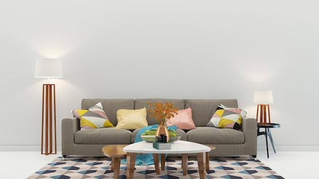Sala de estar interior estilo moderno piso madeira parede modelo textura de fundo