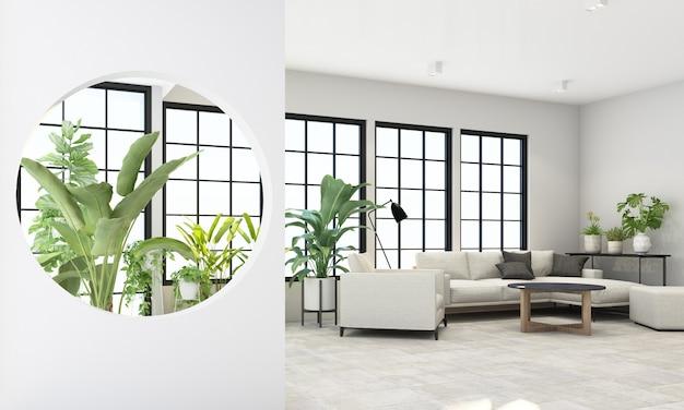 Sala de estar interna com janelas de moldura preta e móveis cinza e decoração verde