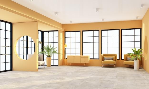 Sala de estar interna com janelas de moldura preta e móveis em amarelo