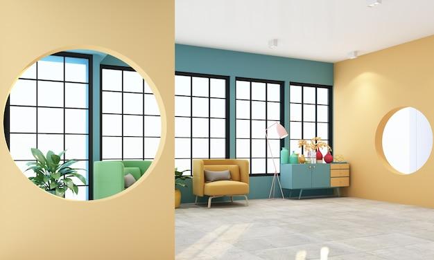 Sala de estar interna com janelas de moldura preta e móveis em tons pastel coloridos