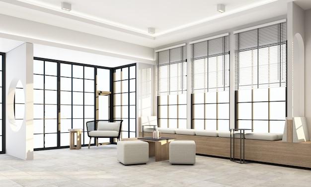 Sala de estar interna com janelas de moldura preta e renderização de móveis cinza
