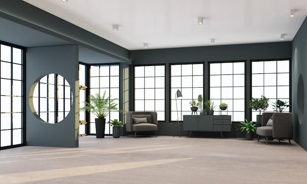 Sala de estar interna com janelas de moldura preta e renderização de móveis em preto