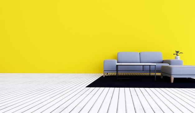 Sala de estar interna com móveis e sofá