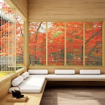Sala de estar japonesa de design de interiores em plano de outono