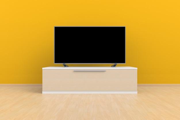 Sala de estar levou tv na parede amarela com mesa de madeira moderna estilo loft, renderização em 3d