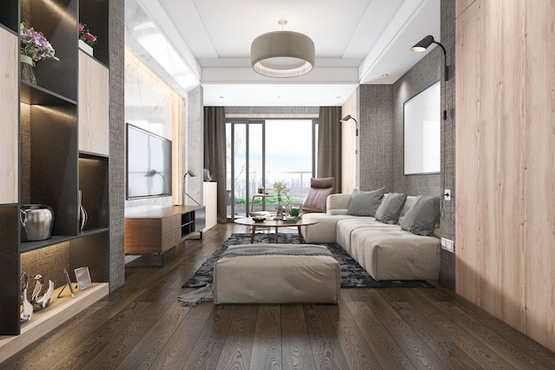 Sala de estar loft de luxo com estante