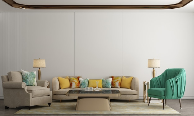 Sala de estar luxuosa e design de interiores de fundo de textura de parede branca vazia