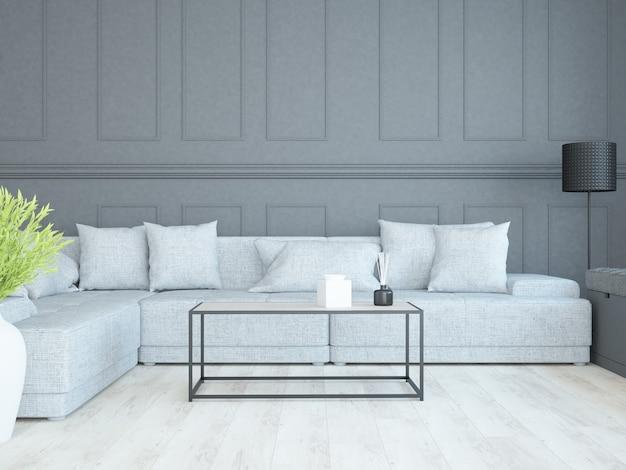 Sala de estar luxuosa e elegante com moldura pintada e sofá largo