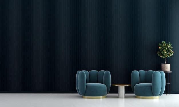 Sala de estar mínima e design interior de fundo com textura de parede azul