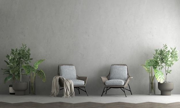 Sala de estar mínima e piso de madeira e textura de fundo de parede de concreto vazia, renderização em 3d