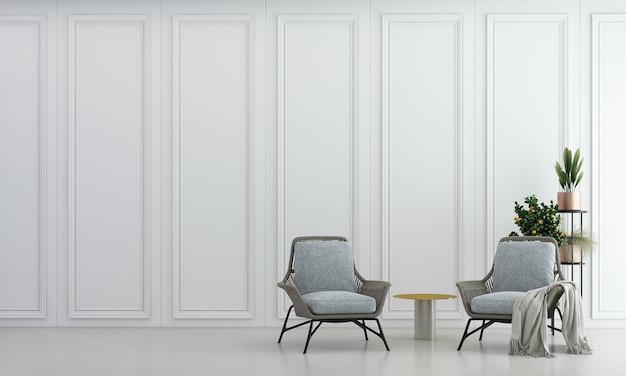 Sala de estar mínima e textura de parede com padrão branco design de interiores