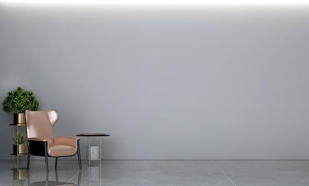 Sala de estar mínima e textura de parede de concreto fundo design de interiores renderização em 3d