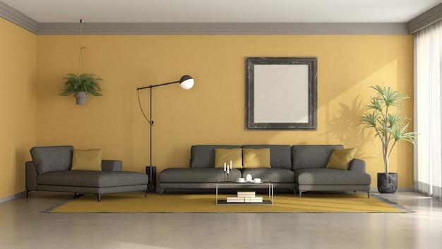 Sala de estar minimalista em preto e amarelo