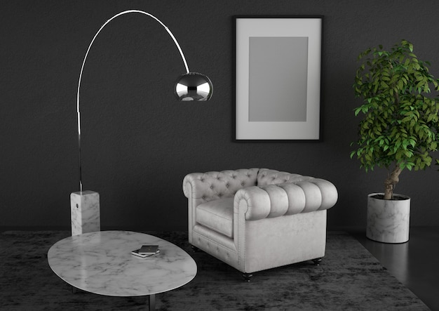 Sala de estar moder com poltrona clássica e mobiliário de design fino