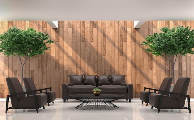 Sala de estar moderna 3d renderk o quarto tem claraboia vazio acima e ensolarado na parede
